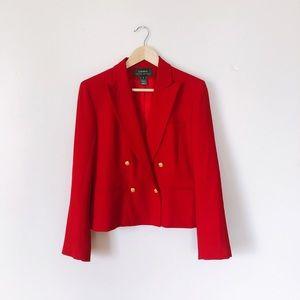 Lauren Ralph Lauren Double Breasted Red Blazer
